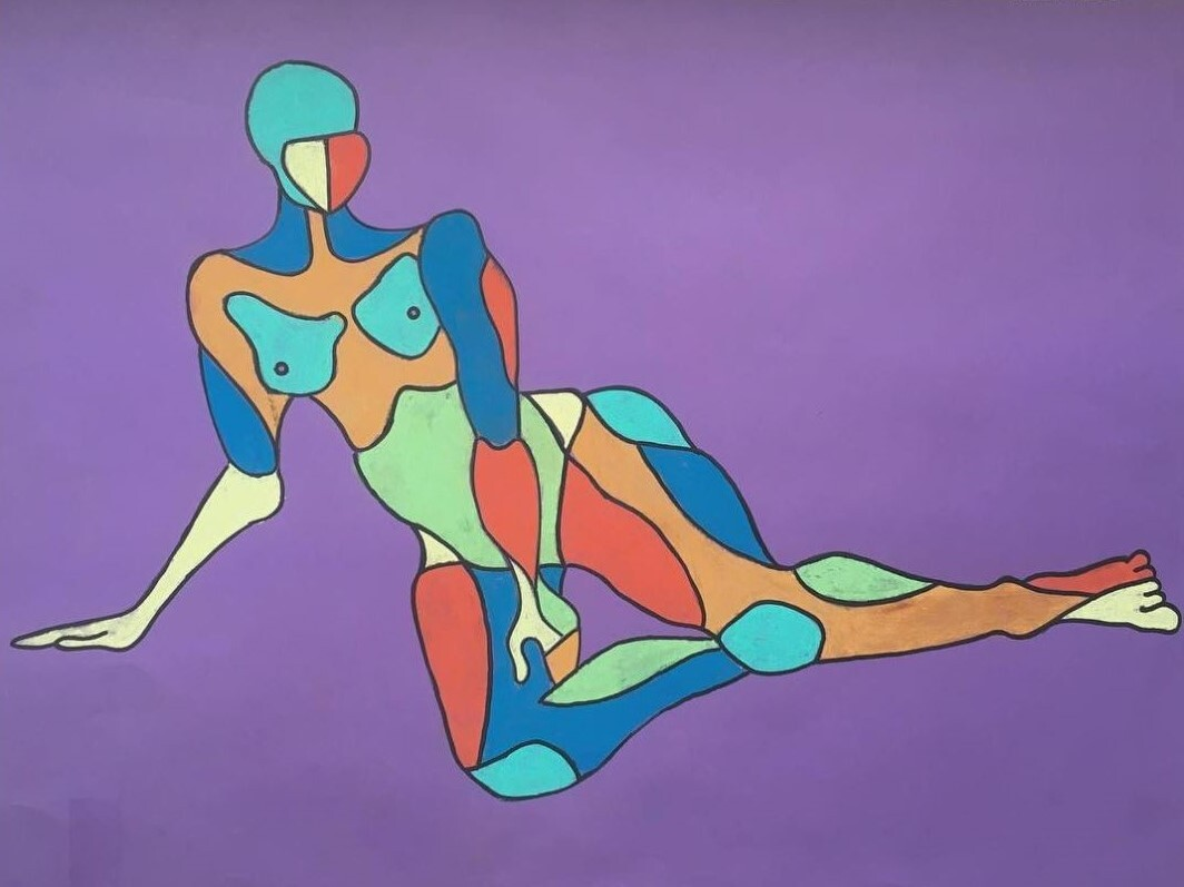 Colourful Woman. A psychedelic depiction of a nude, live model in chalk.