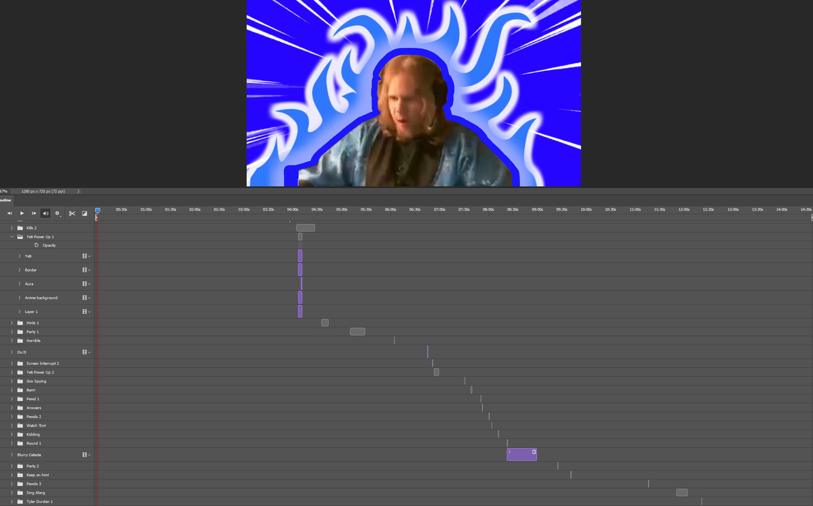"""The """"Tap into Strength, Part 1"""" visual effect within Photoshop video editor"""