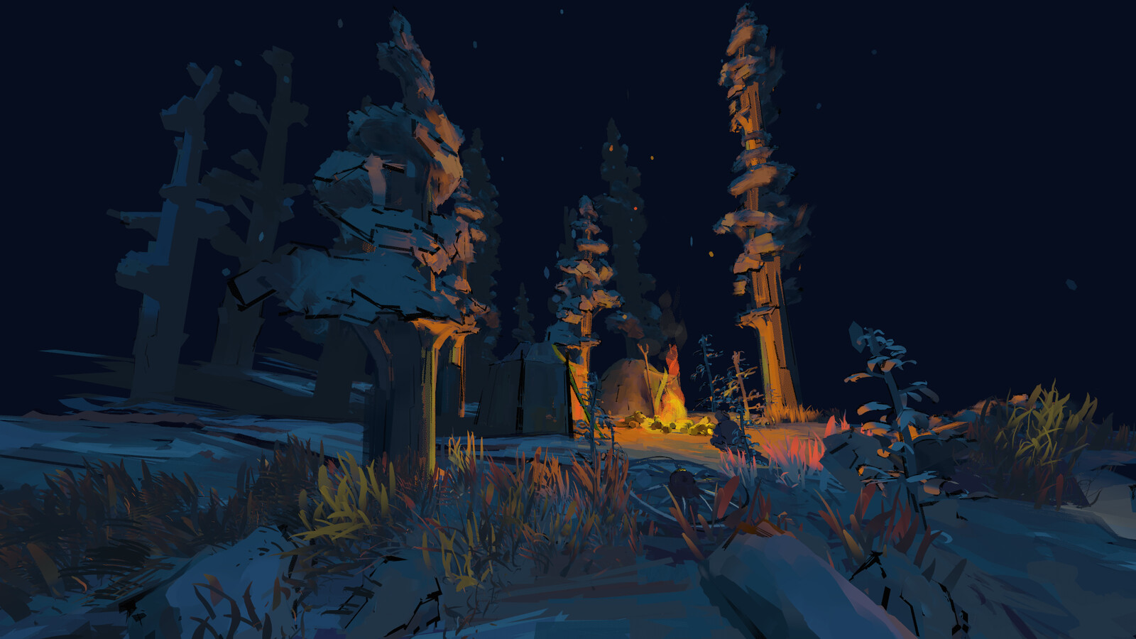 Campfire scene painted in VR using Quill