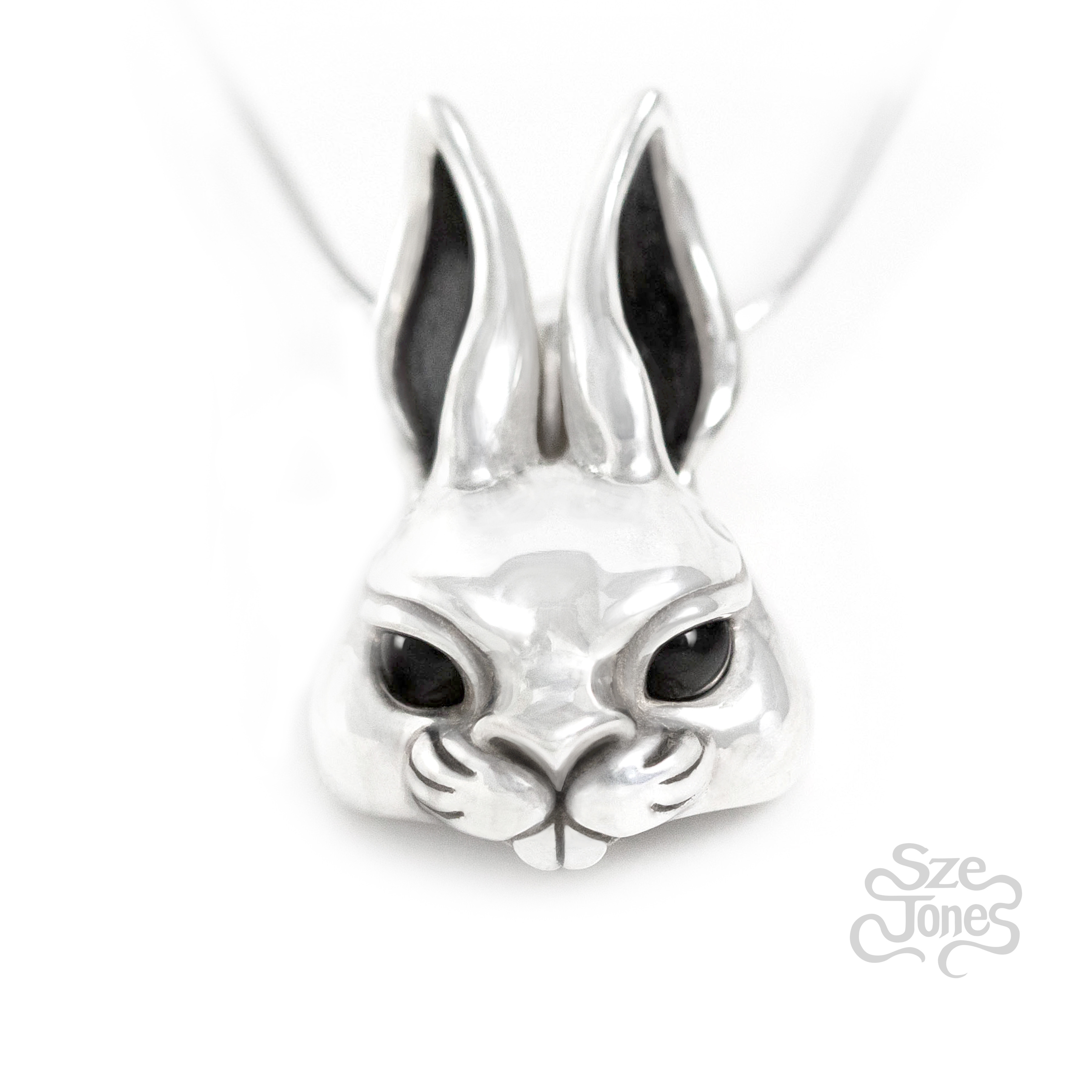 Bunny Pendant with Onyx Eyes
