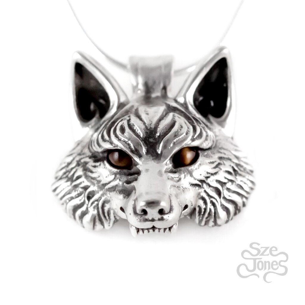 Wolf Pendant with Tiger Eyes Gemstones
