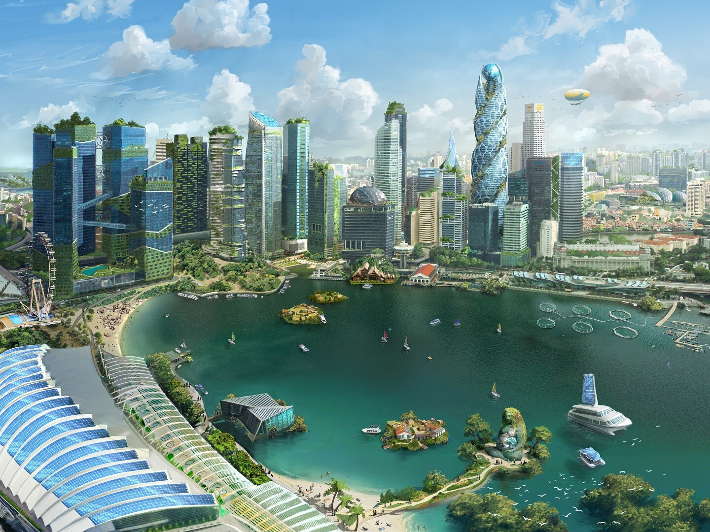 Utopistic Singapore in the year 2048