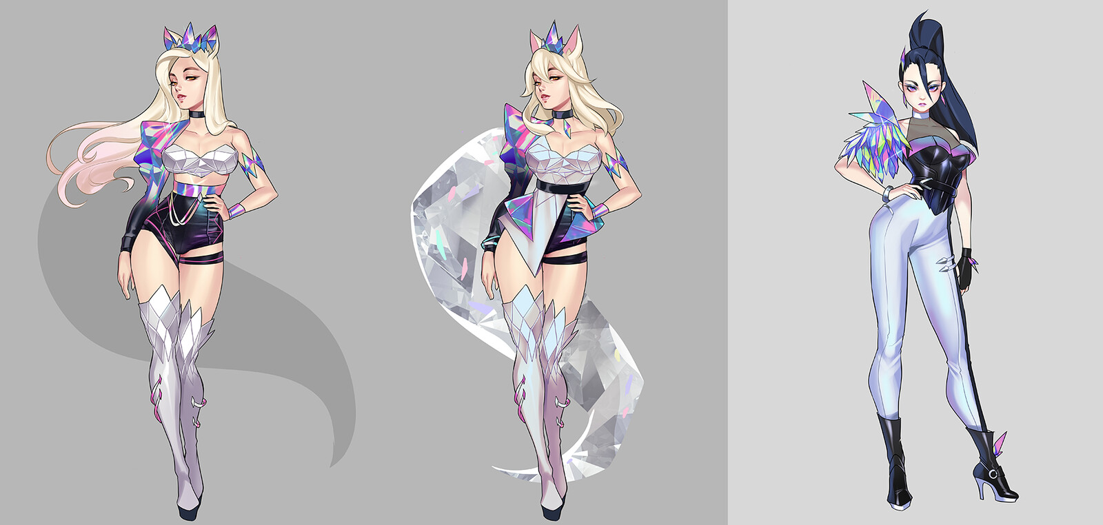 Ahri and Kaisa explorations! this was when we were getting closer to their final designs. Final concept for Ahri by Rheekyo Lee, final Kai'Sa by Nancy Kim!