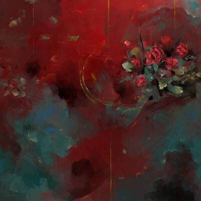 Leo de moura sonho rosas ceramica vermelha medium
