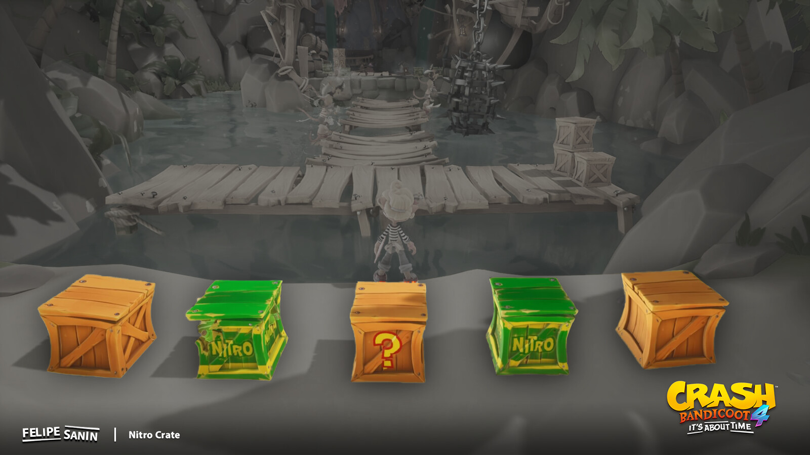 """Lines in the Nitro and TNT crates were painted using the second UV set. While the """"Nitro"""", """"!"""", """"?"""", """"C"""" and other characters where placed using decals."""