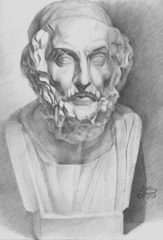 Homer Bust - Classical Drawing