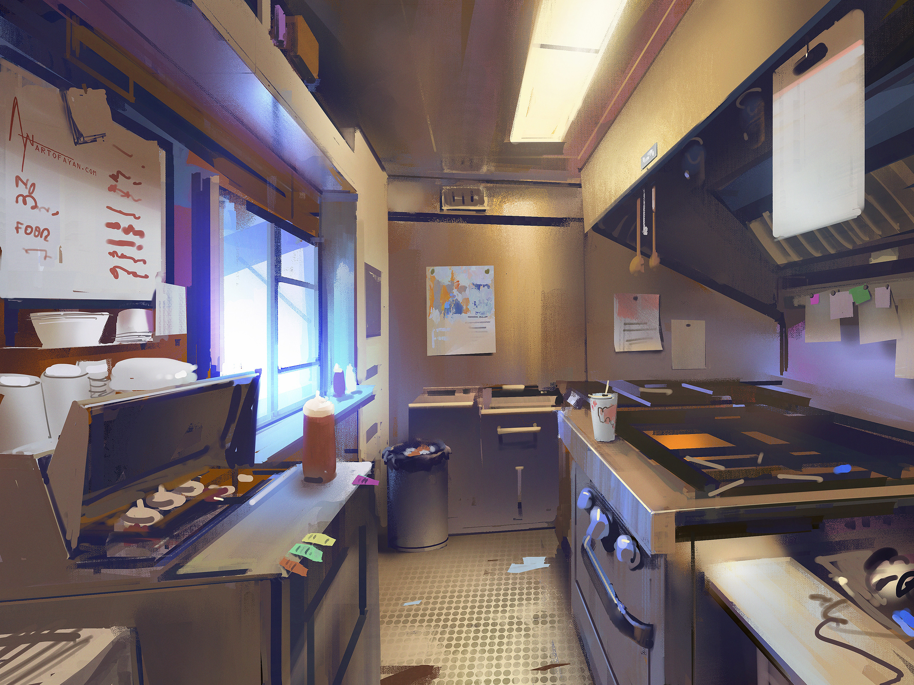A fun interior painting of a food truck during the break(so I don't have to paint humans )🙃