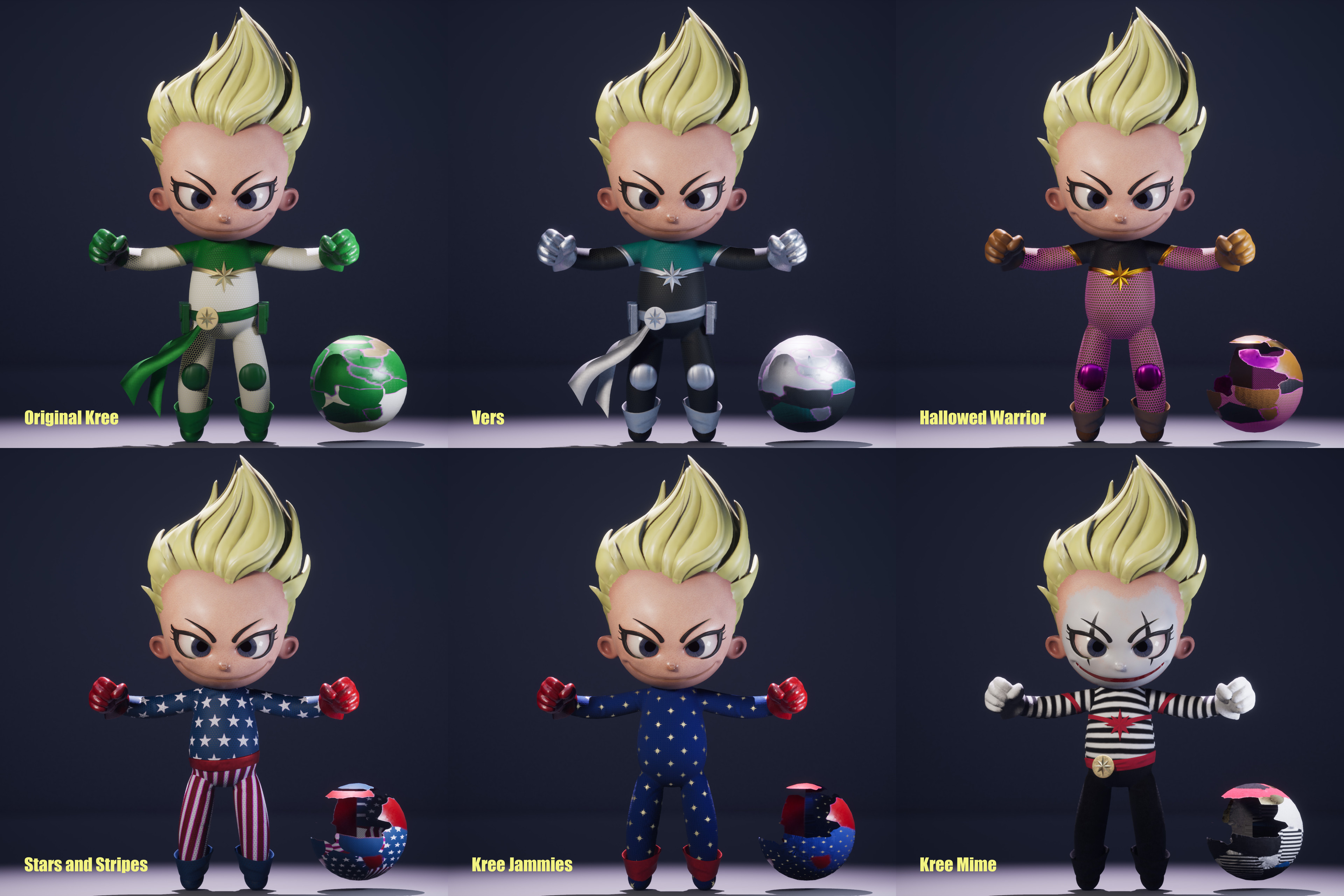 Suit material was designed for the easy creation of different skins. These are some of the examples I came up with