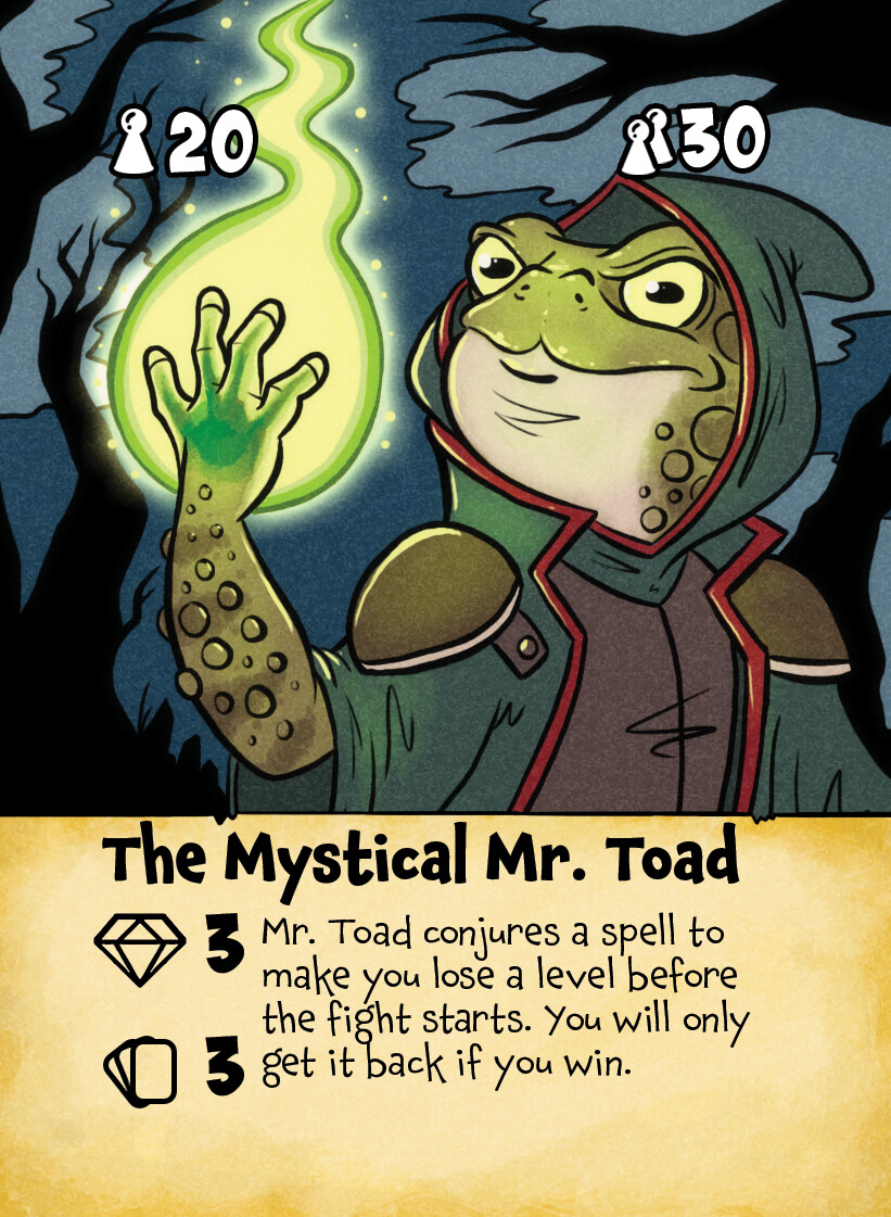 """The Mystical Mr. Toad"" card illustration.  Created for the boardgame King's Trial by Laughing Hyena Games.  (www.laughinghyenagames.com)  © 2020"