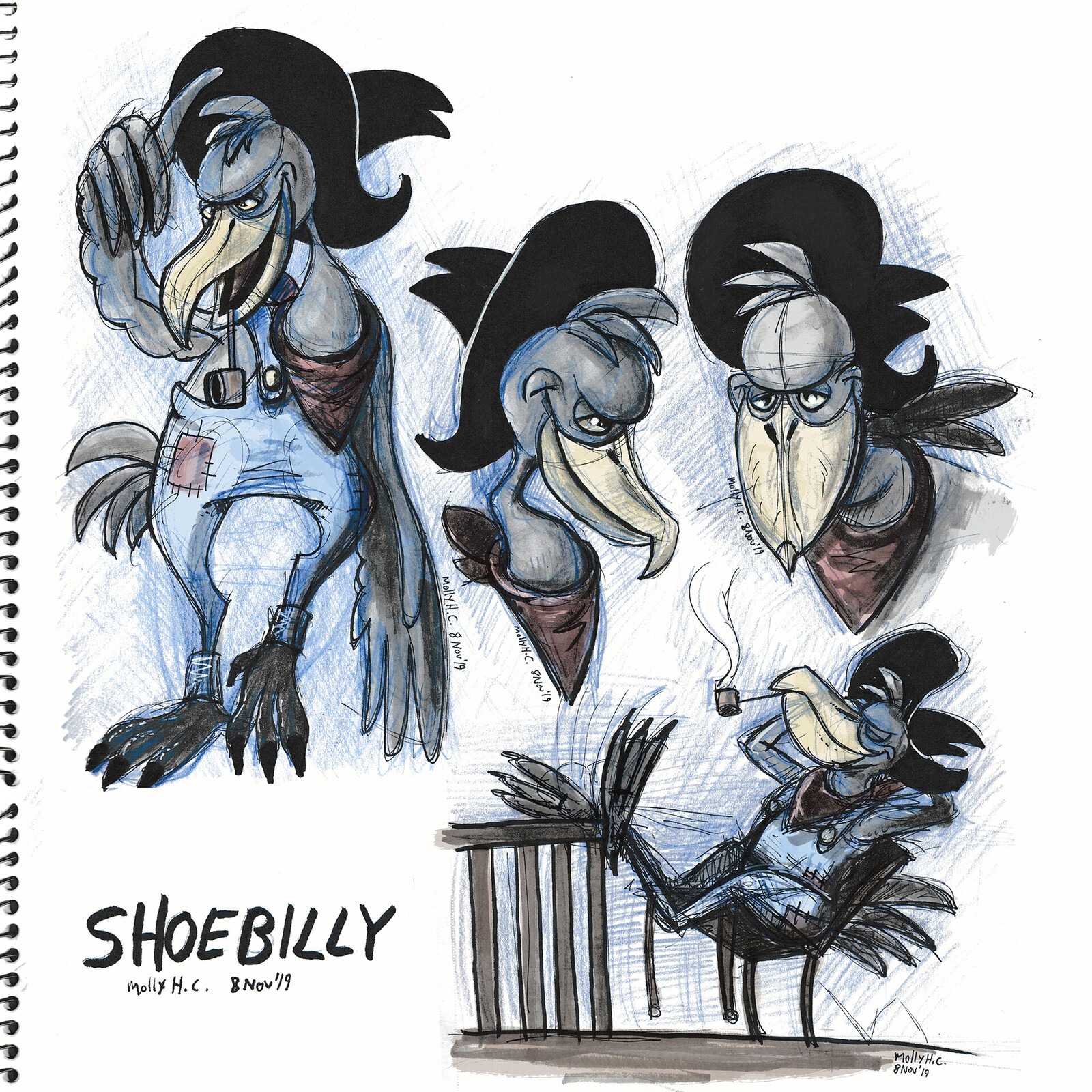 Shoebilly Character Design Sketches (2019)
