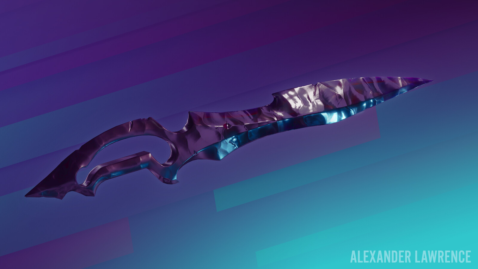 Obsidian one-handed sword. The design of this came from one of the assets in an Epic Games mobile weapons pack that's available for free on Unreal Marketplace. Their version wasn't obsidian, but I liked the shape so much that I just had to do my own take.