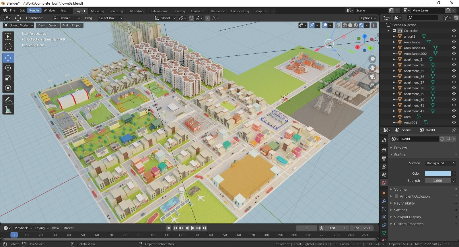 Screenshot of the view port inside Blender