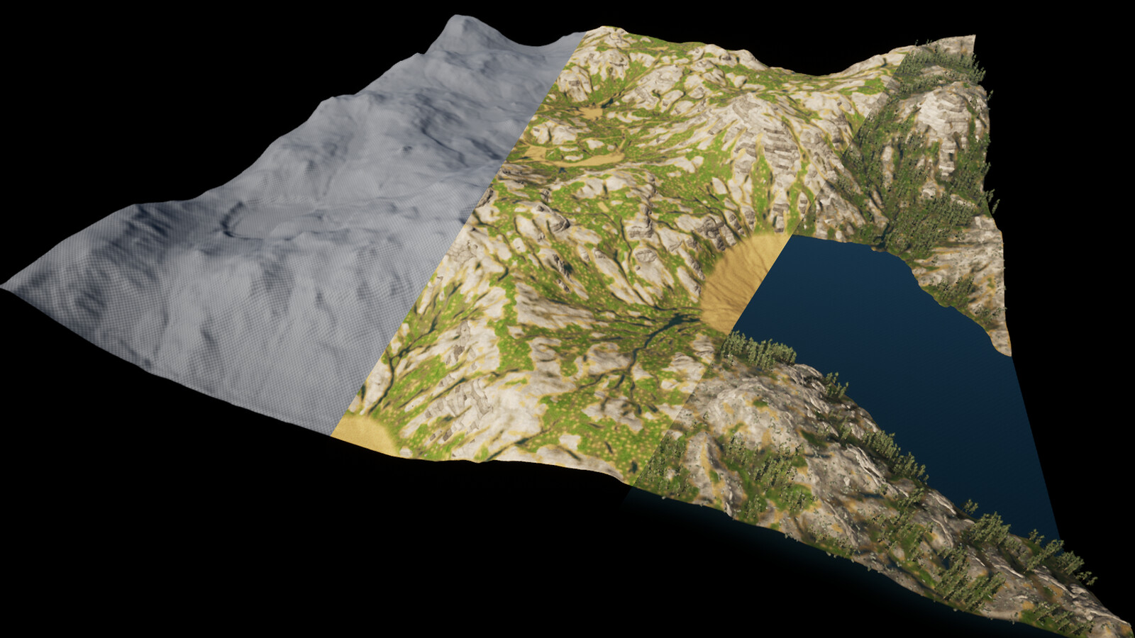 Basic landscape in UE4 / with a landscape material / with water, detail mask n foliage.