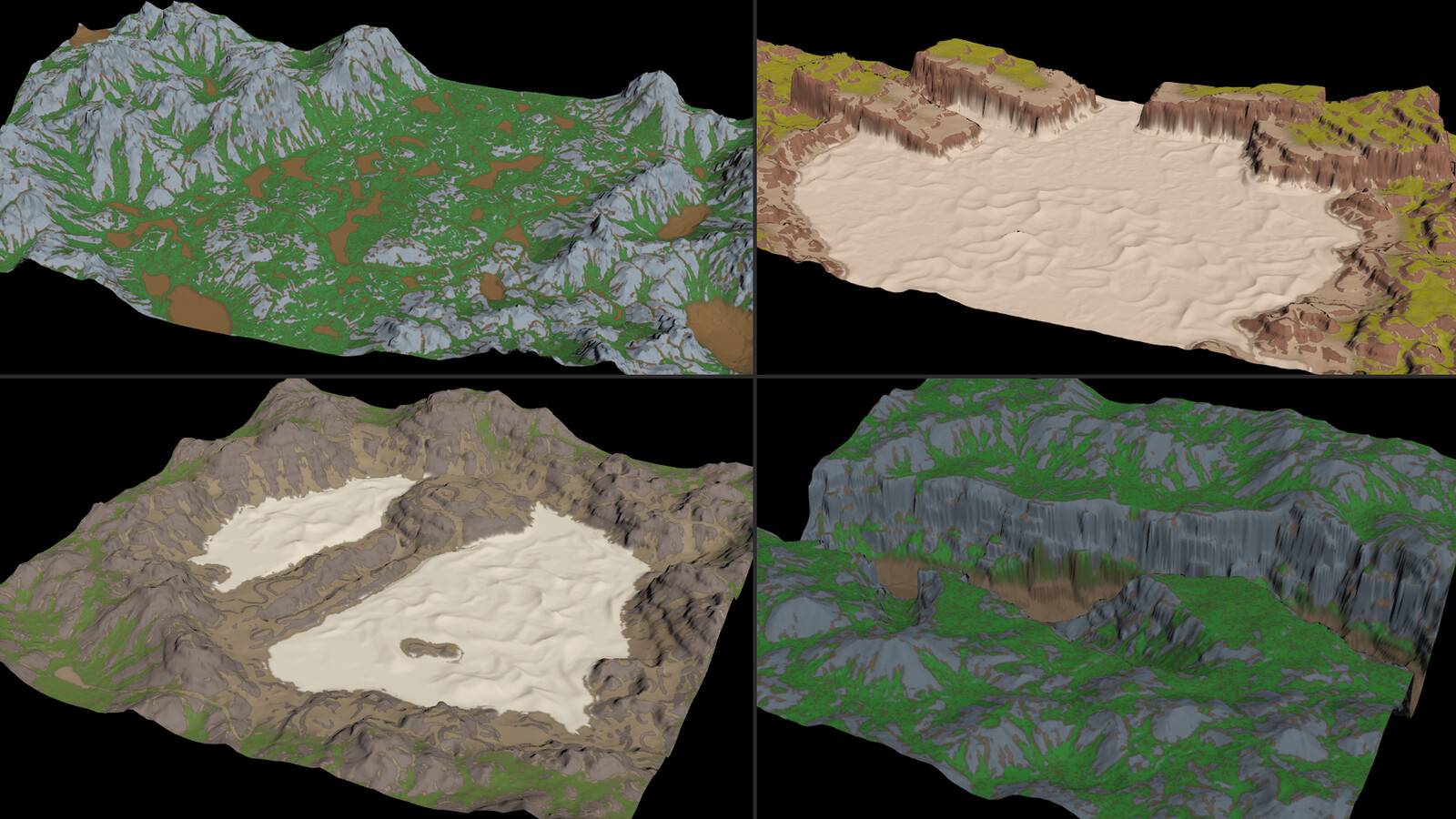 A few 1-2 km landscape variations in Houdini with a quick visualizer preview.