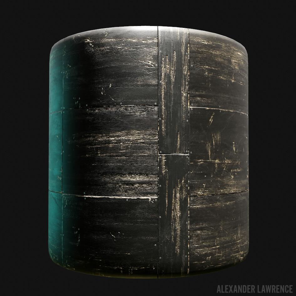Painted black wood floorboards, procedurally generated