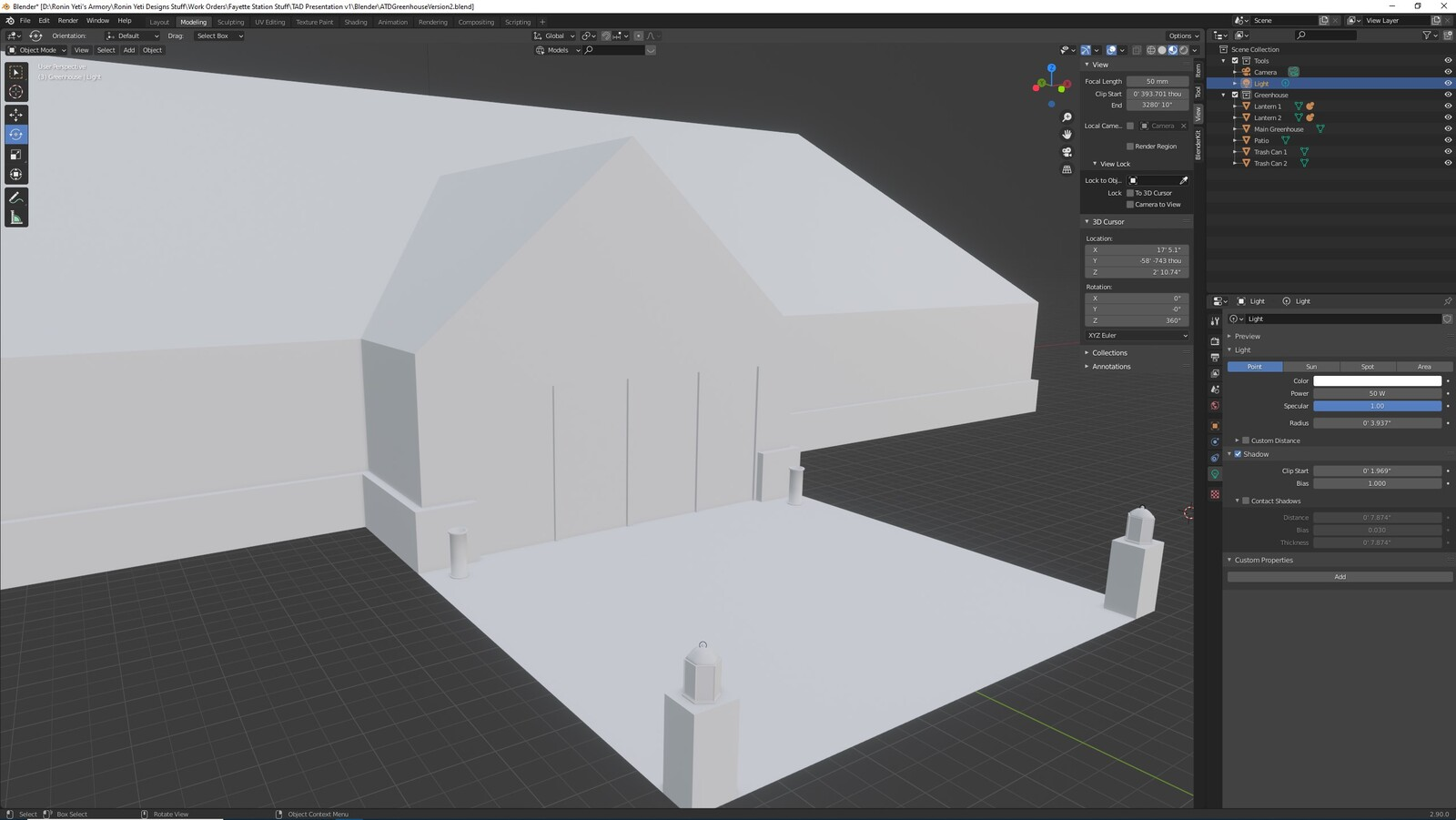 The main angle for the TAD Presentation Greenhouse (Whitebox version)