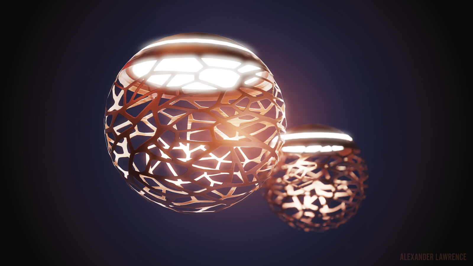 Floating lamps beauty shot (rendered in Marmoset Toolbag)