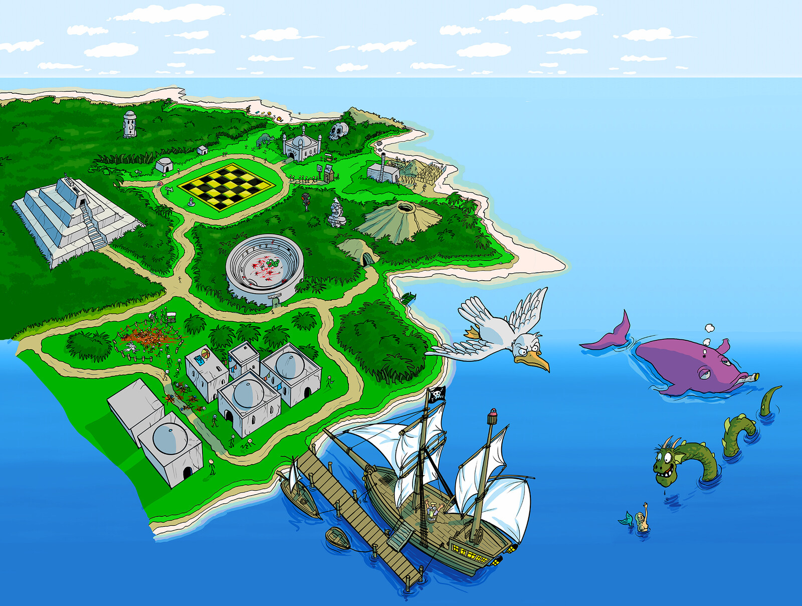 """""""Paradise island"""" hand drawn artwork used as comp background for actors"""