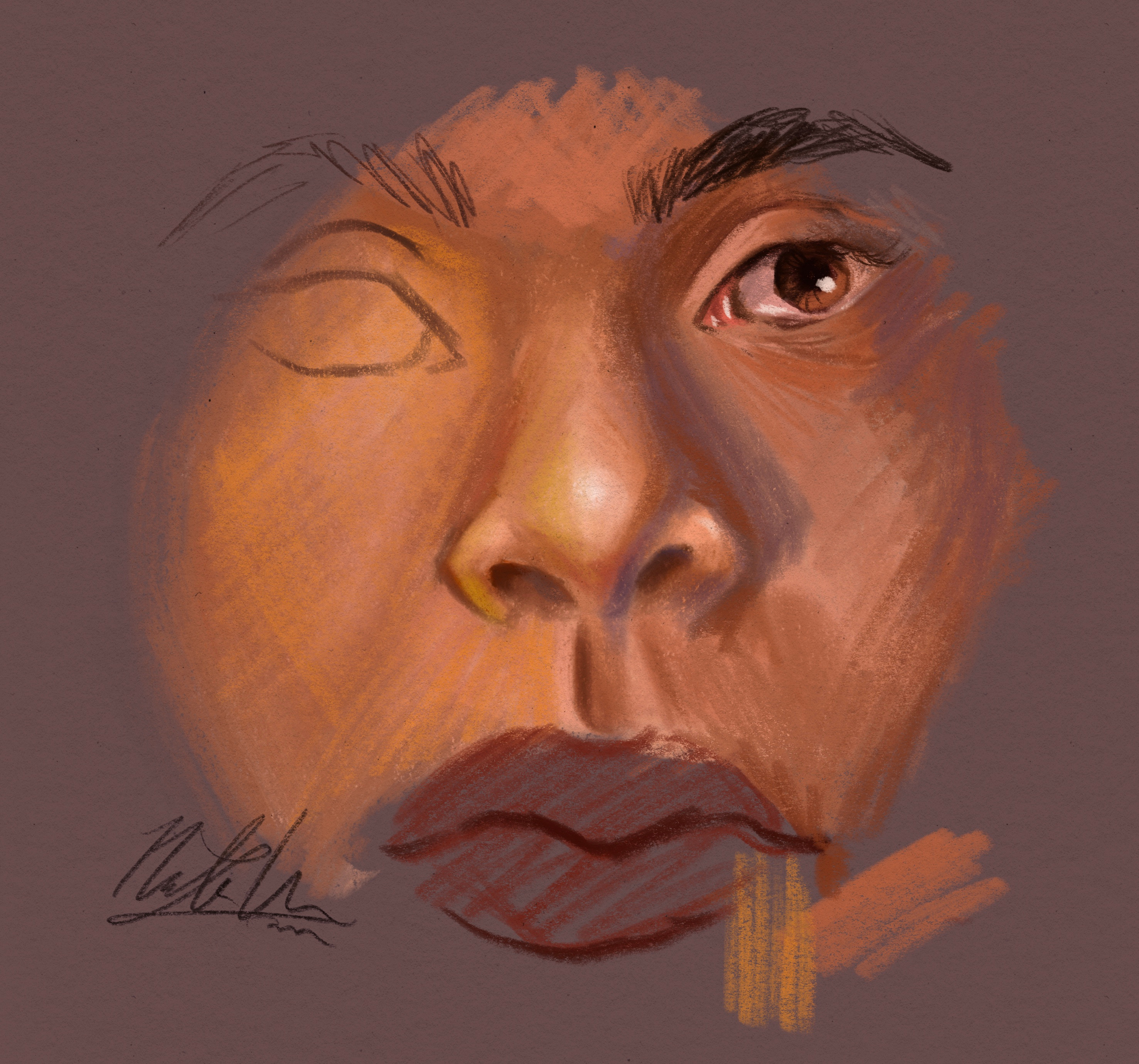 A quick sketch/study I did to try out the brushes/techniques I wanted to use for this piece.