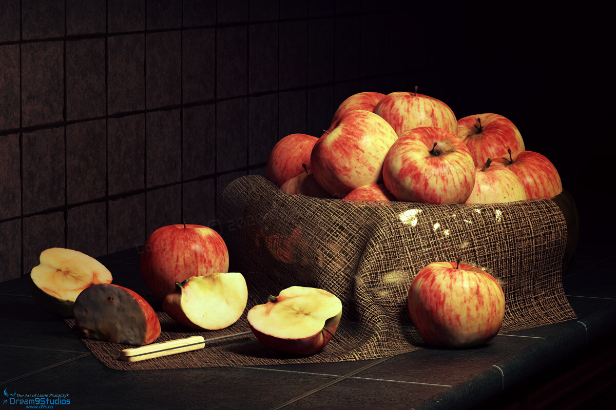 A still life of a bowl of fresh apples on a kitchen countertop with a few sliced and ready to be devoured.