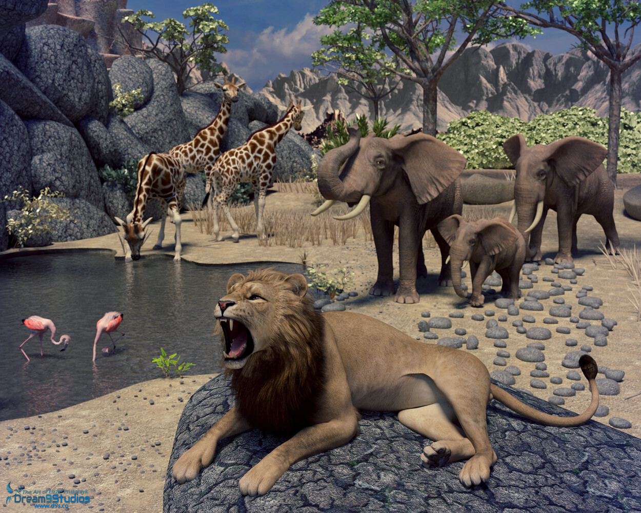 A scene from down in Africa of a water hole on the great savannah being visited by a variety of native wildlife.