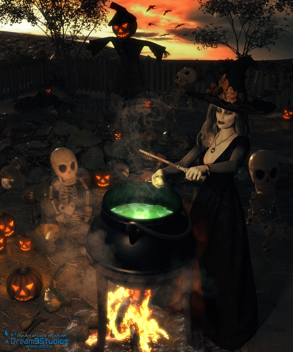 The witch brews her potent concoction as her minions gather round the pumpkin patch to celebrate All Hallow's Eve.