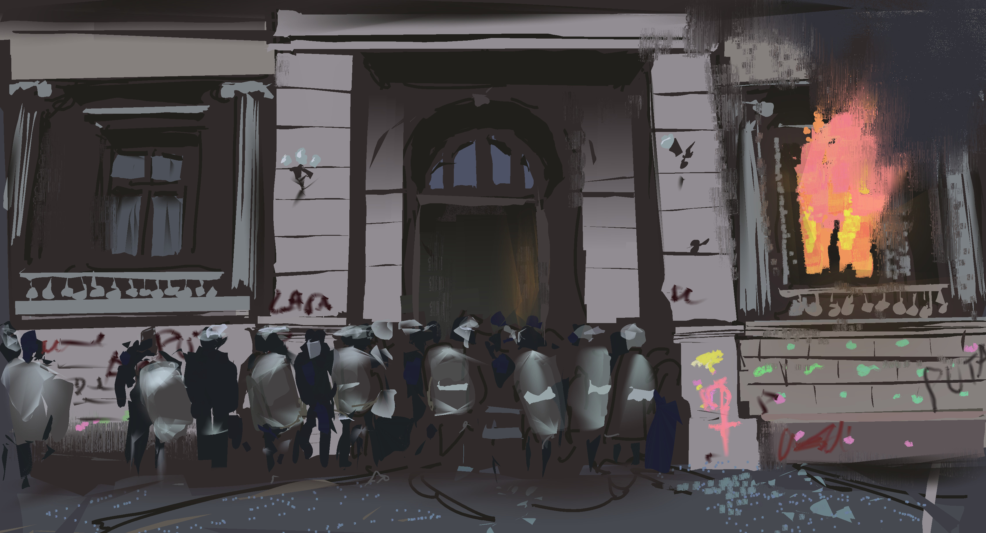 Guatemala protest. Painted from reference.