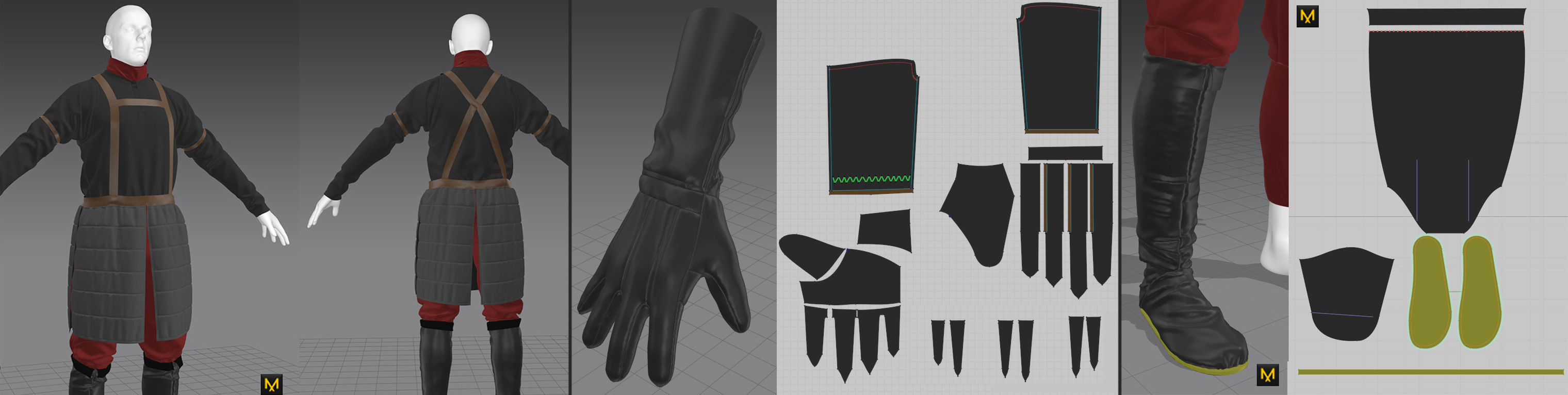 All of the garments were created in Marvelous Designer. Gloves were based on my own real life I wear in winter so it was a great experience replicating them based on a draft.