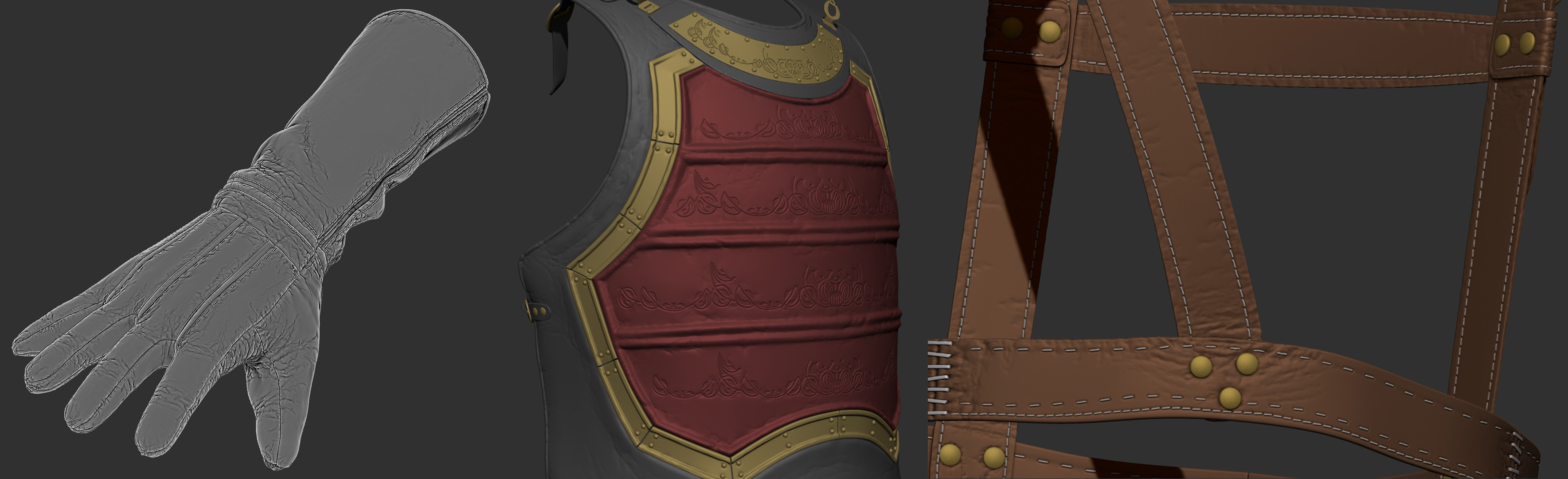 Most of the challenging sculpting was adding details to the leather areas, since I felt pretty confident with my hard surface sculpting.