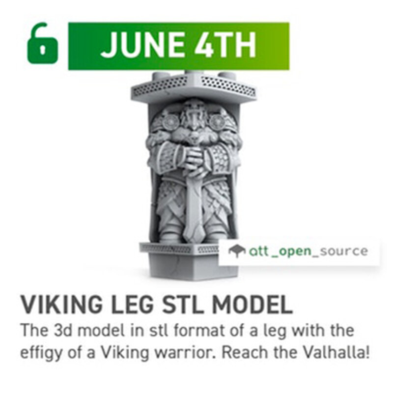 Viking LEG STL Model for AdapTableTop, concept and Model