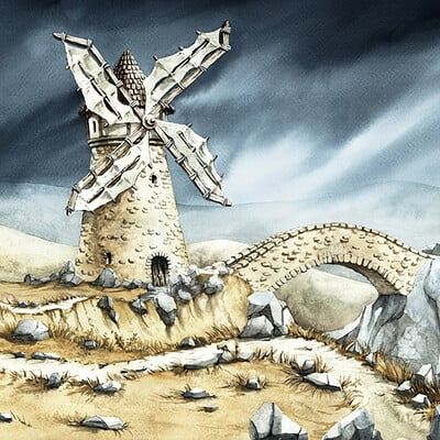 Elwira pawlikowska windmill landscape color preview