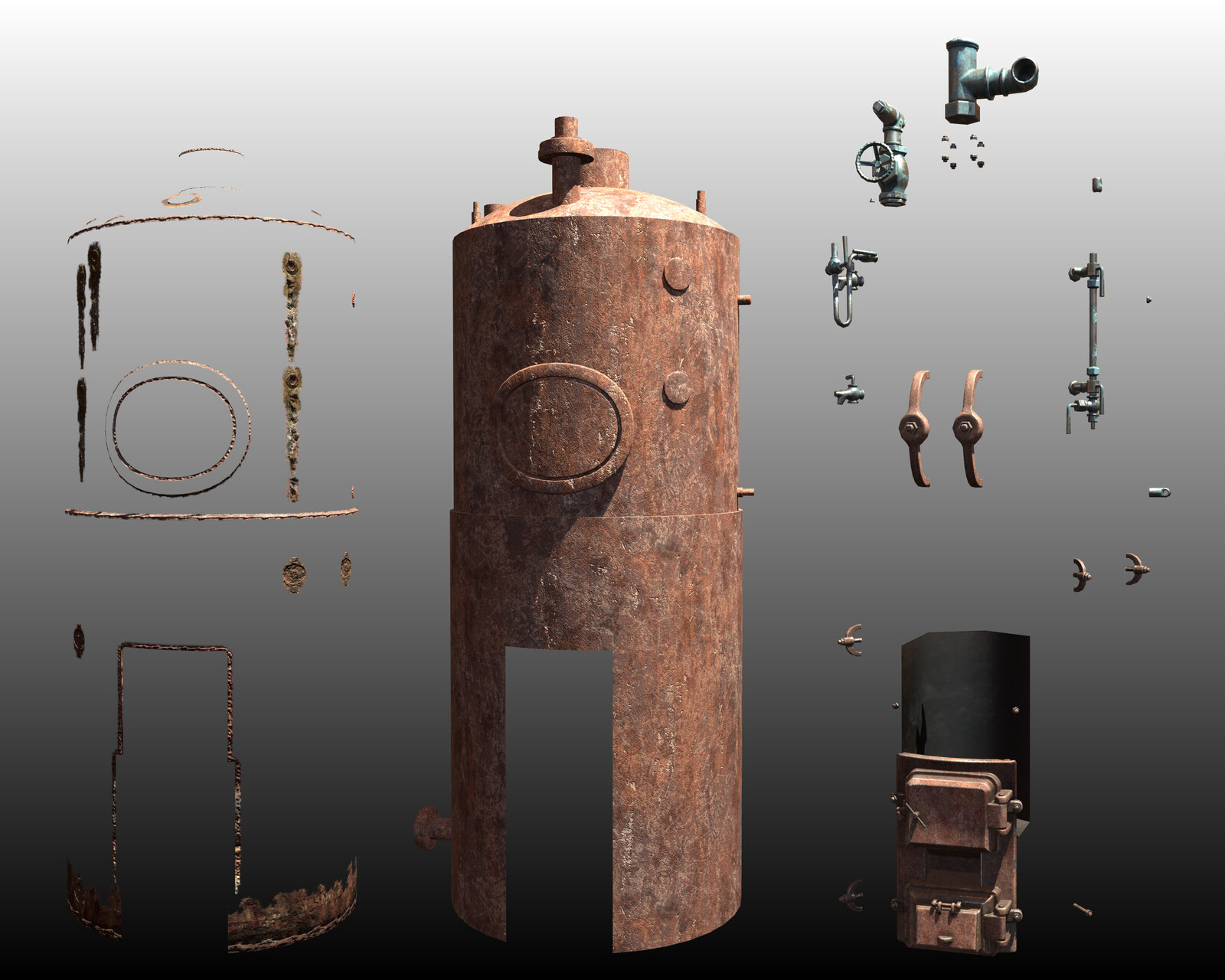 The model is 2.5 meter high. It has 1024 pix/meter texeleration. It has 3 materials in a spec/gloss workflow: - Tiled 1024x1024 mat for the whole hull created by me at Substance Designer; - Baked 1024x102 mat for better detail visualization; - One 512x512