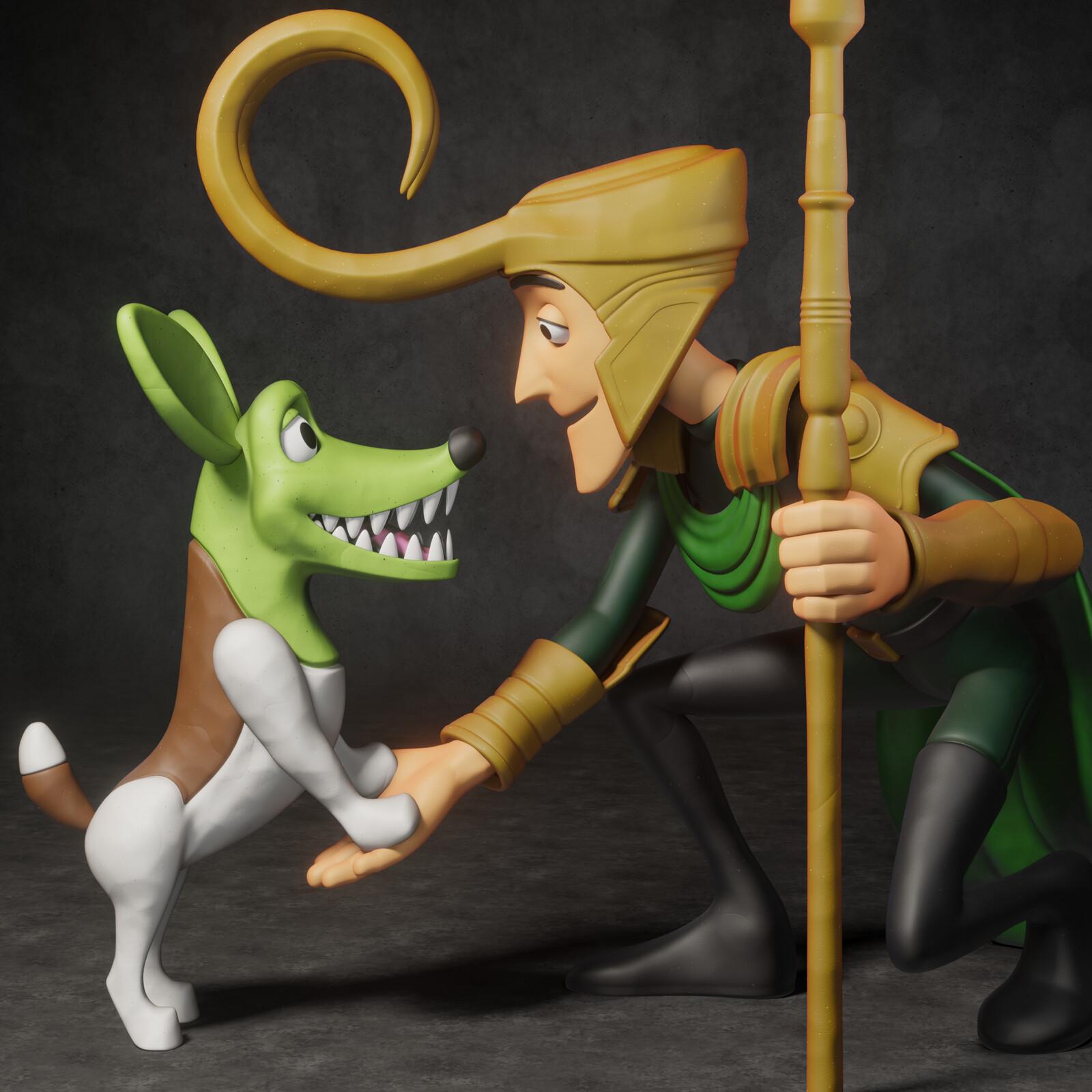Loki (featuring Dark Horse's Milo from 'The Mask' movie)