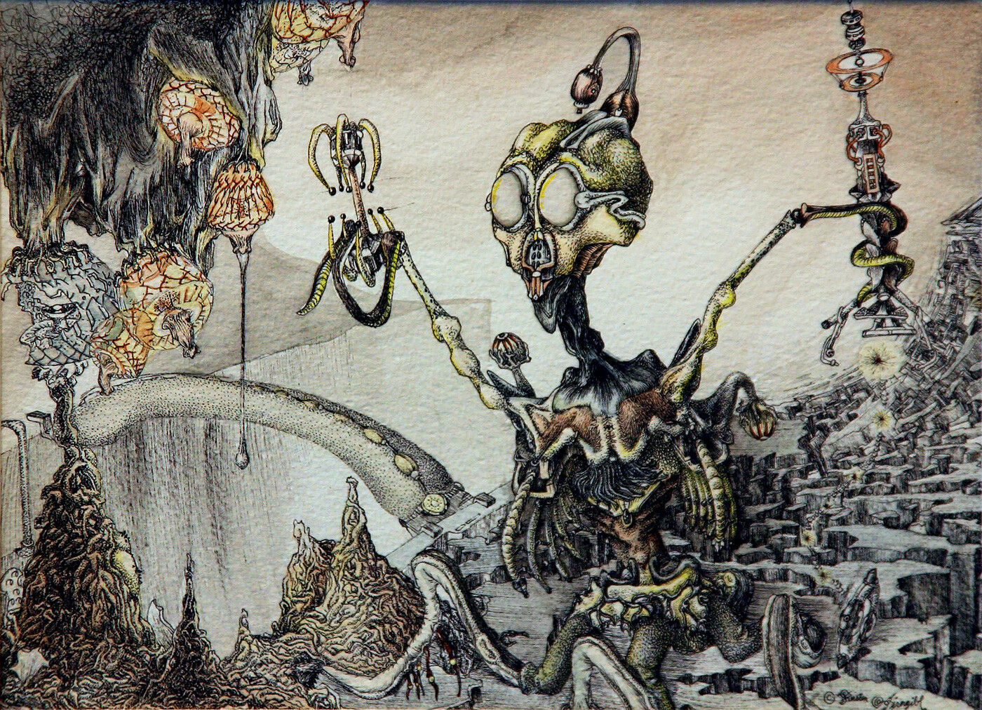 "(Age 14) - ""The Harvest"" Watercolor and pen, 6.5"" x 9"" The alien is harvesting a fluid produced by the illuminated sacs. (The broken ones are dead- no light).  It's using the tool in its ""left"" tentacle to detect whether the fluid is good or not."