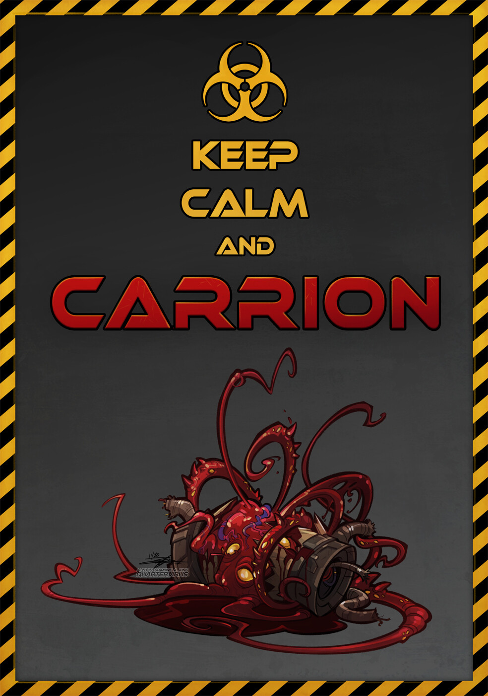 Belated fanart of the game CARRION, which I played over Halloween. But er... red is seasonal??