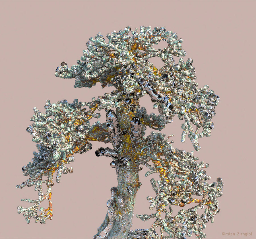 """Growing """"crystal trees"""" using displacement in V-Ray."""