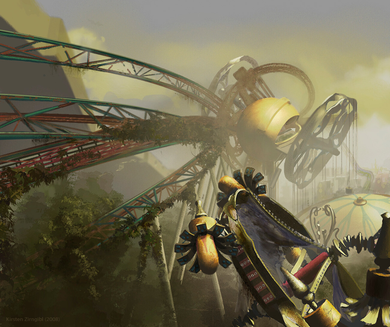 """Abandoned Amusement Park"" (2008) My first imaginative painting in Photoshop!"