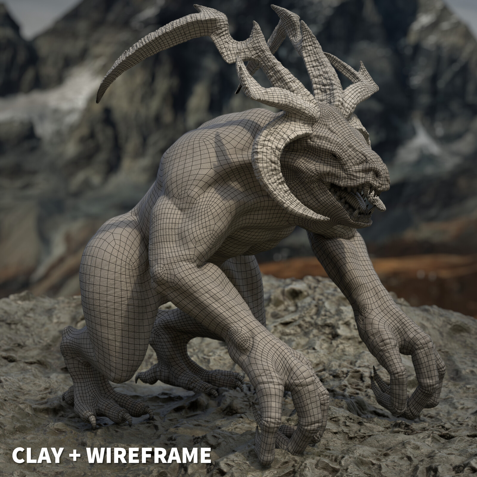 Clay + Wireframe