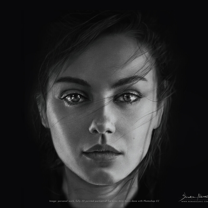 Portrait of Mila Kunis painted with Photoshop.
