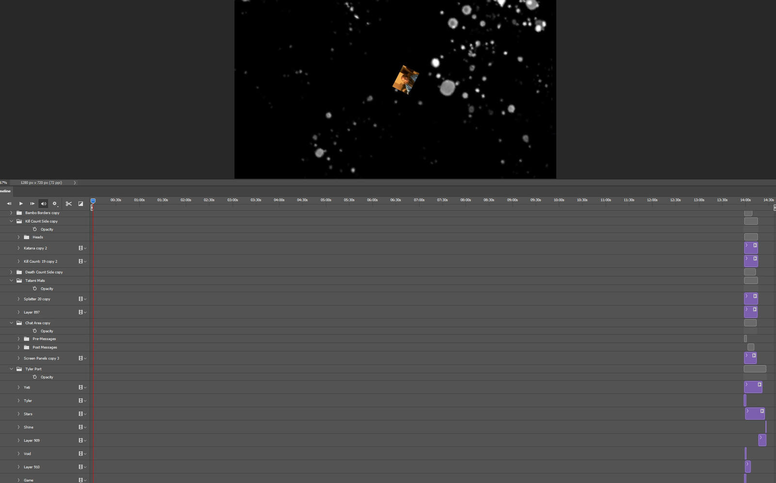 """The """"Tap into Space, Part 3"""" visual effect within Photoshop video editor"""