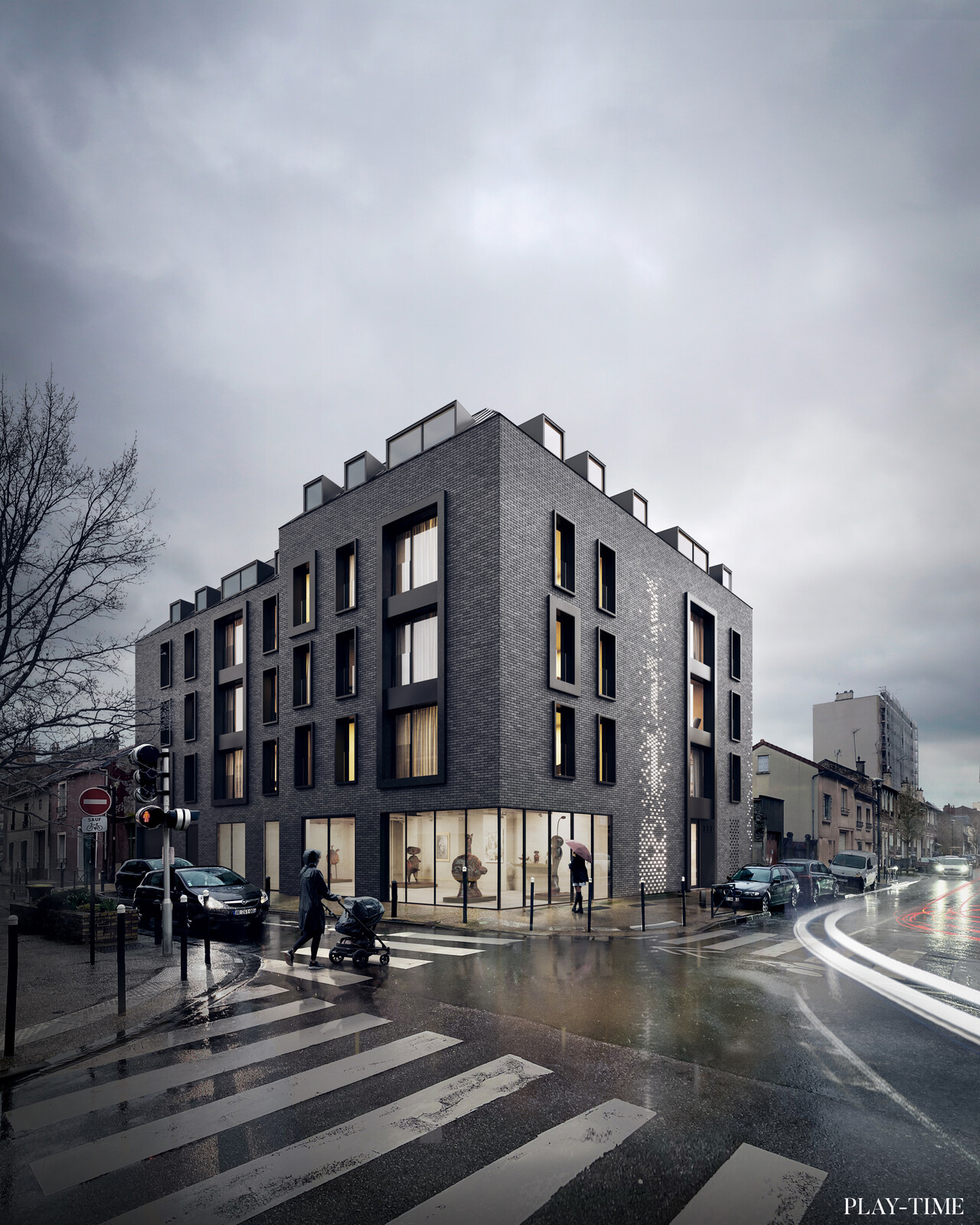 New 12 housing next to Paris designed by Studio Petra. Image by Play-time