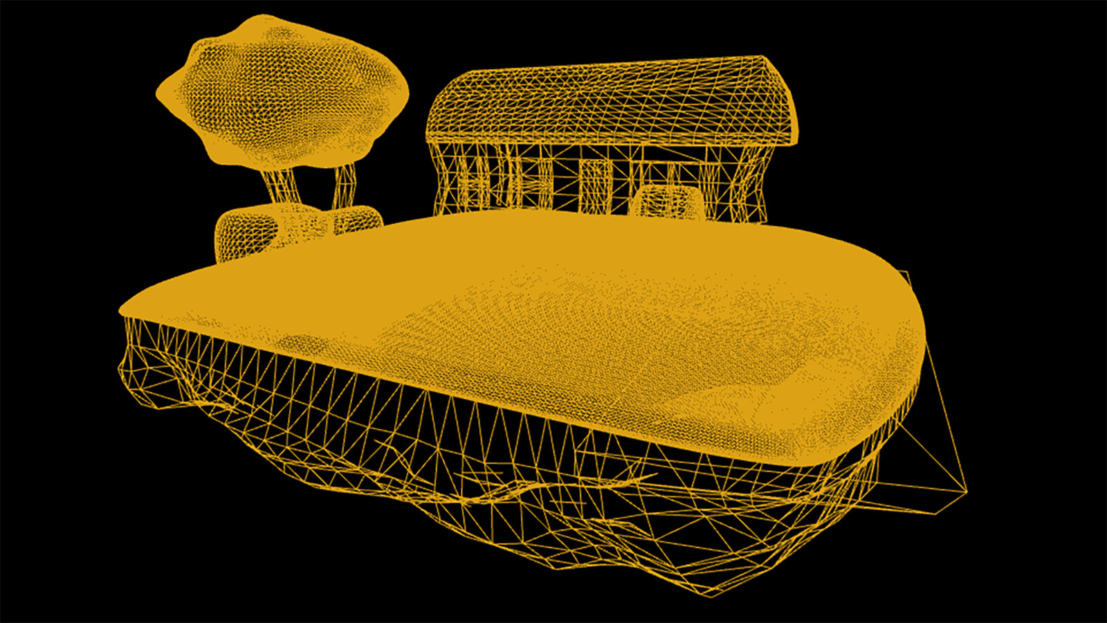 Wireframe of Entire Diorama Grass is very high poly to get a very small, spiky Tessellation in hopes of imitating real grass.