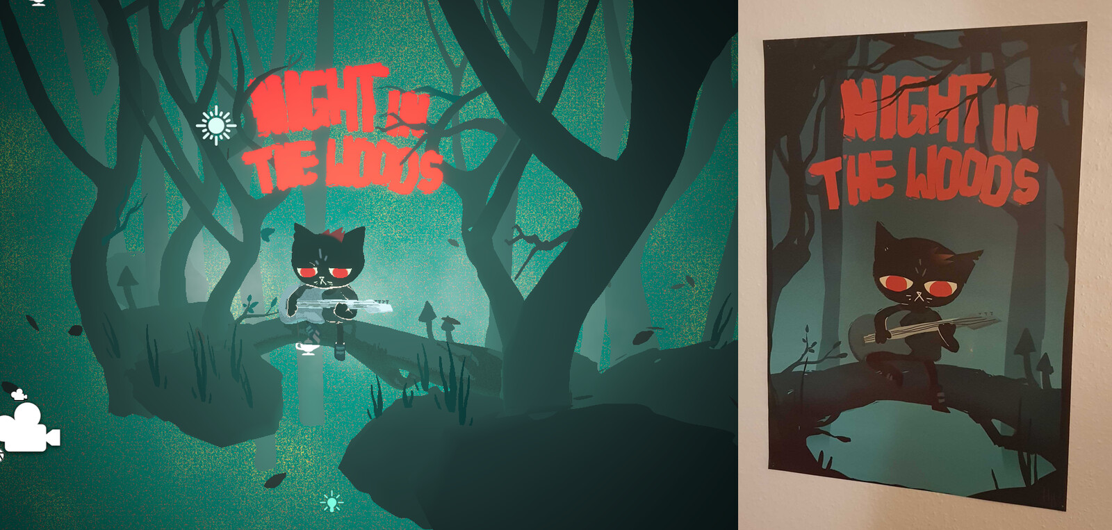 Final scene in Unity (left), and original poster art (right)