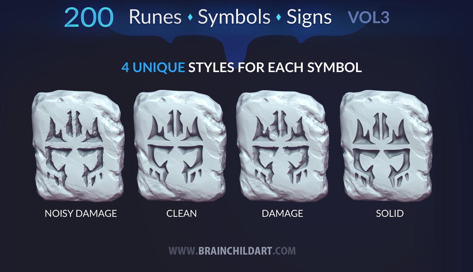 Buy https://www.artstation.com/a/1258631 | VOL. 3 - 200 Runes, Signs & Symbols (800 Alpha Textures) Zbrush, Blender, Substance...