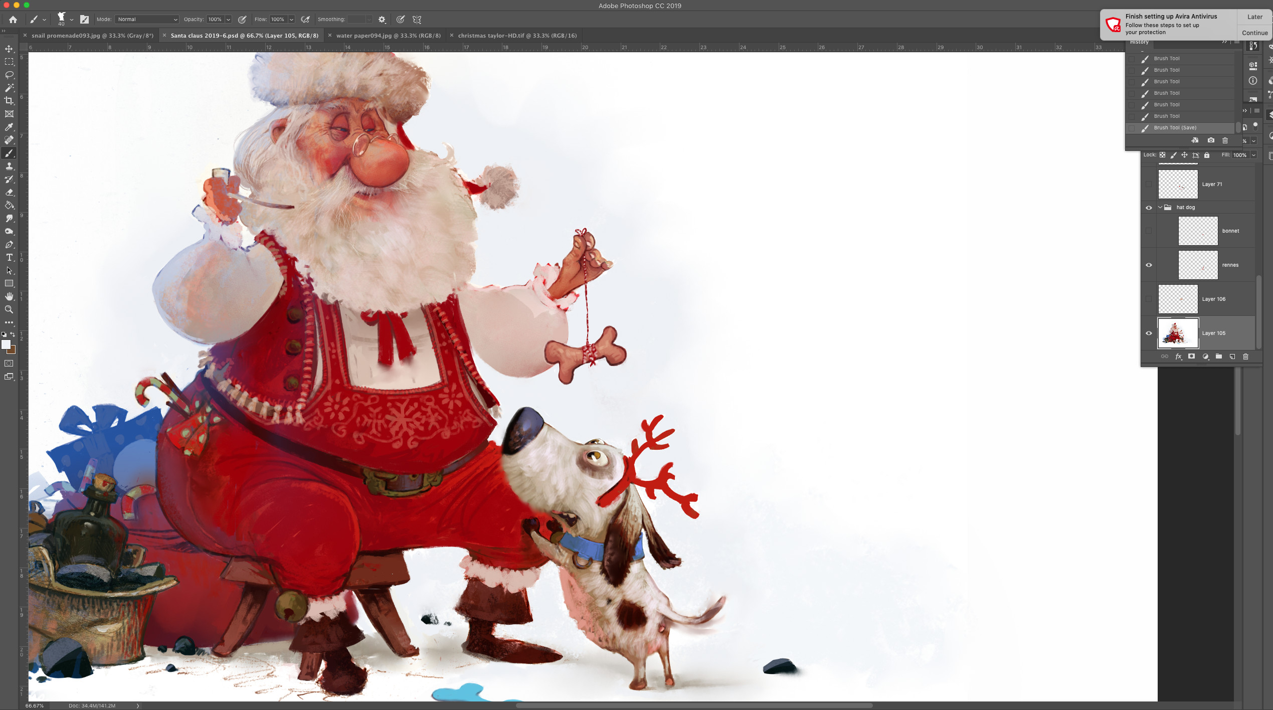 Adding details like the bucket and the presents!
