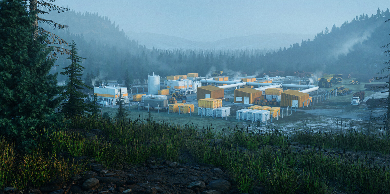 Several MMRs powering a lumber camp