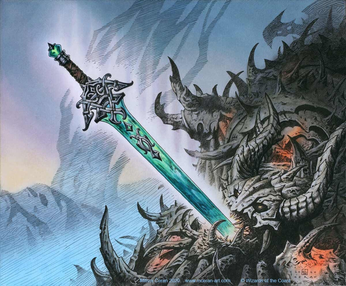 """- """"Sword of the Realms"""" Milivoj Ćeran 2020. - 33x40 cm (13 x 15,7 inches) - archival ink and acrylic on paper (Fabriano 5, 300 gsm) - © Wizards of the Coast - AD Tom Jenkot - """"Kaldheim"""" set"""