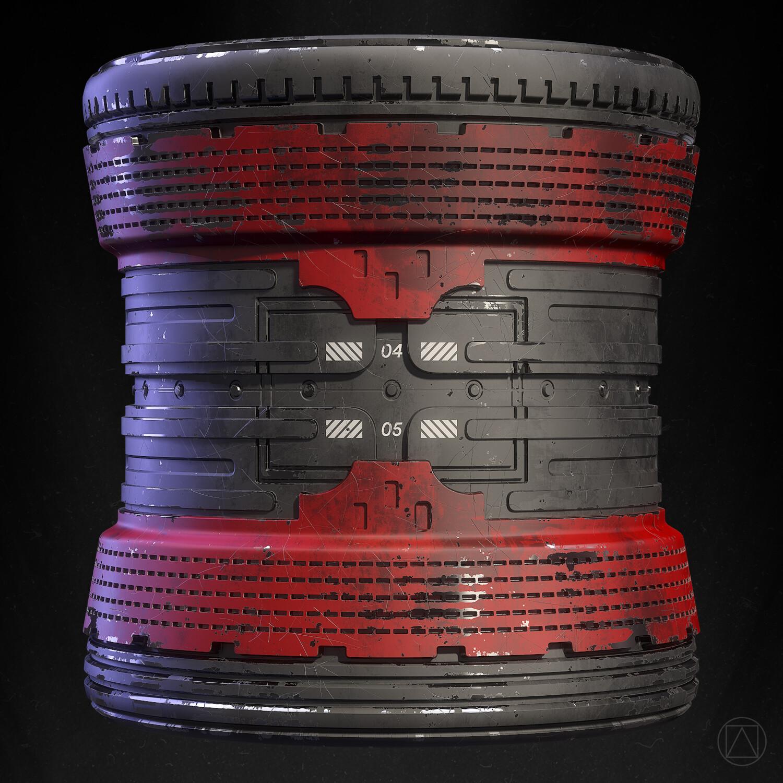 100% Substance Designer, rendered in Marmoset Toolbag 3.  Cylinder, no tiling.