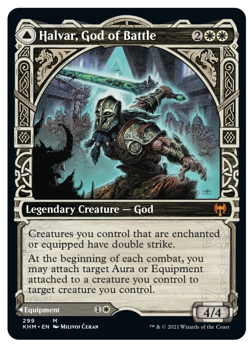 "- ""Halvar, God of Battle"" released mythic showcase card - © Wizards of the Coast - AD Tom Jenkot - Magic the Gathering, ""Kaldheim"", release Feb 2021"