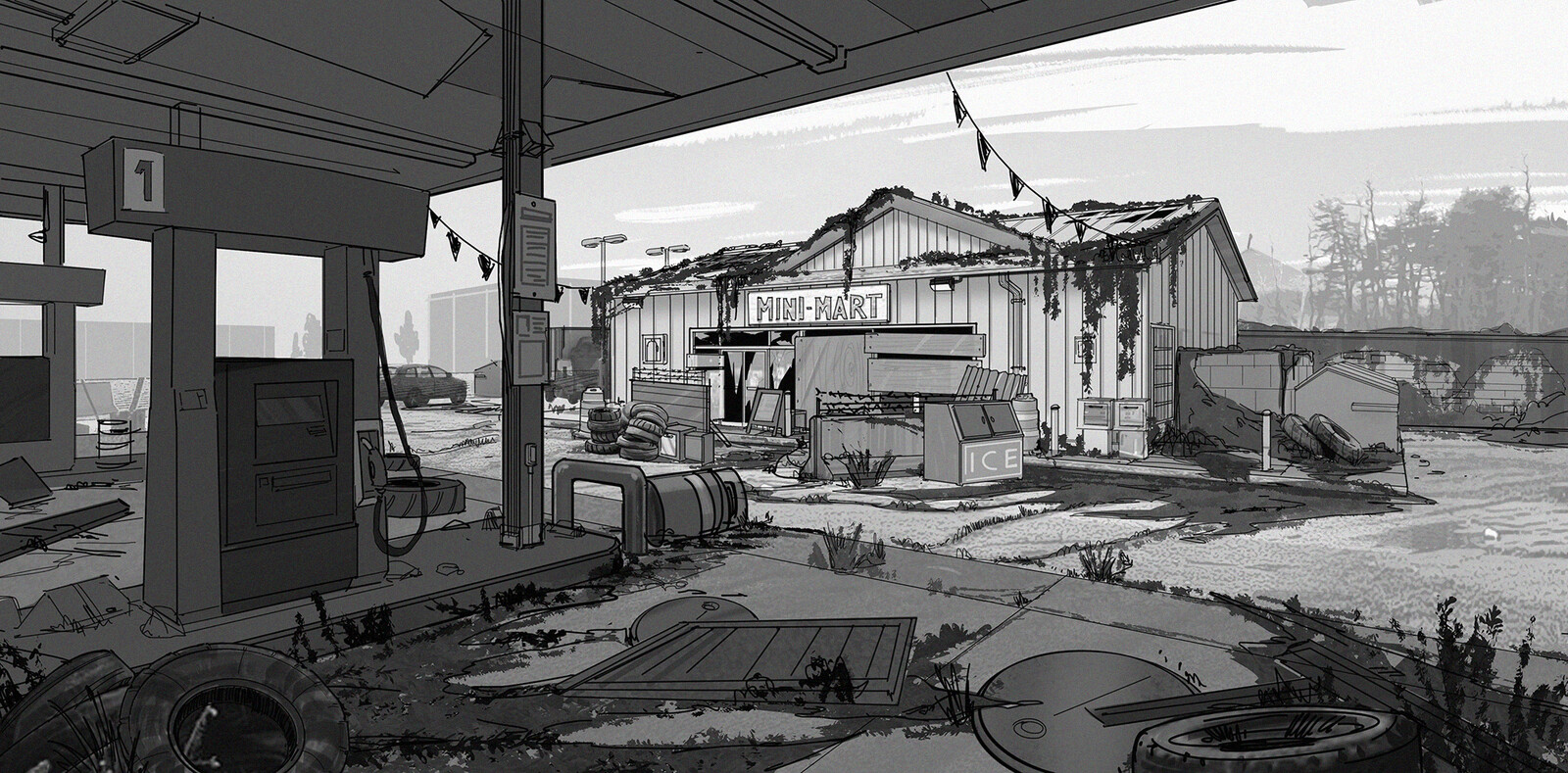 Walking Dead Onslaught- Environment Sketches